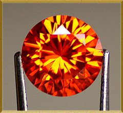 ROUND FACETED AAA RATED PADPARADSCHA ORANGE CUBIC ZIRCONIA (1-18mm)