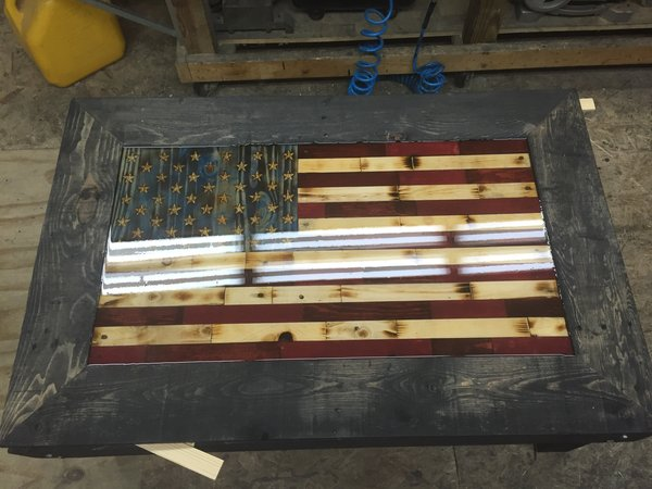 FLAG COFFEE TABLE WITH CONCEALMENT American Freedom Flags