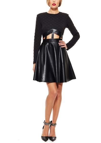GRACIA Long Sleeve Embossed Dot and Faux Leather Dress Size S-M ...