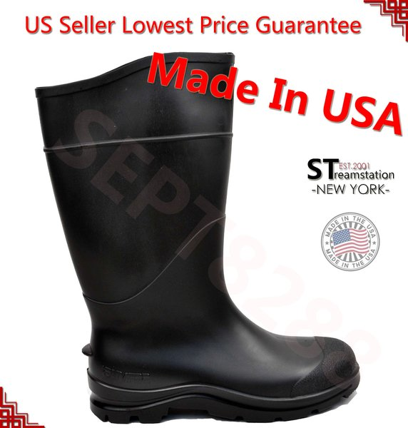 "14"" Mens Waterproof Rain Rubber Boots Shoes Slip-Resistant =Made ..."