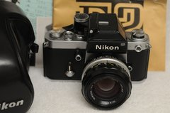 NIKON F2 WITH DP-1 FINDER AND NIKKOR 50mm F1.4 LENS, CASE, MINT- CONDITION