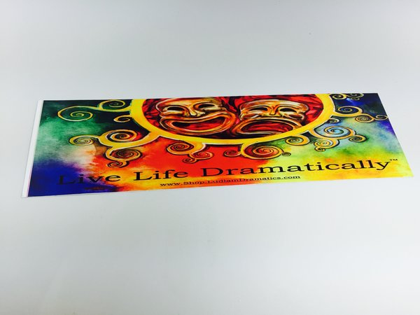 Live Life Dramatically Apparel By Ludlam Dramatics: Live Life Dramatically Watercolor Bumper Sticker 2 Pack