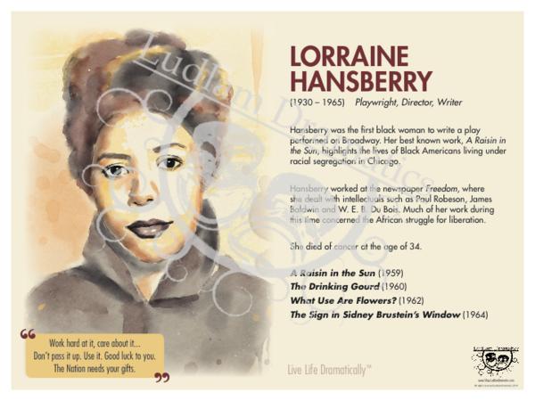 Live Life Dramatically Apparel By Ludlam Dramatics: Lorraine Hansberry Bio Poster