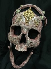 Crimson Edition - #003 of 4 - Signed and Numbered - The War Chaplain - Real Human Skull Replica Carved By Zane Wylie