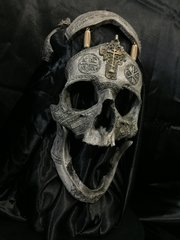 PRE-SALE 3rd Run - #005 of 10 - Signed and Numbered - The War Chaplain - Real Human Skull Replica Carved By Zane Wylie