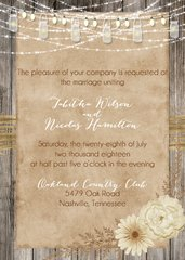 Country Mason Jars & Lights Wedding Invitation