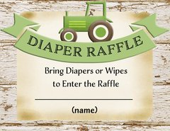Diaper Raffle Card-Green Tractor