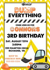 Construction Yellow Birthday Invitation