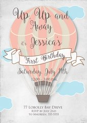 Hot Air Balloon First Birthday Invitation