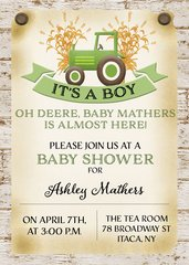 Tractor Baby Boy Shower Invitation