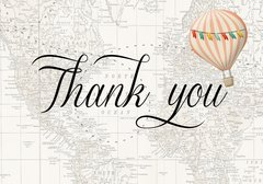 Hot Air Balloon Pink Thank You Card