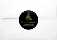 Gold Christmas Tree Return Address Sticker