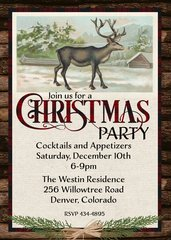 Rustic Deer Christmas Invitation