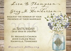 Lavender Mason Jar Wedding Invitation
