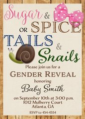 Sugar and Spice or Tails and Snails Gender Reveal Baby Shower