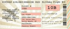 Plane Ticket Birthday Invitation
