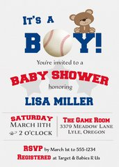 It's a Boy Baby Cub Baseball Shower Invitation