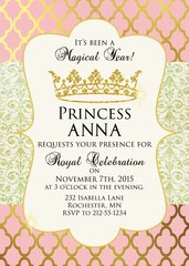 Pink and Gold Princess Birthday Party Invitation
