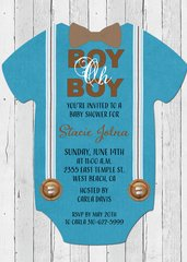 Boy Oh Boy Baby Shower Invitation-Light Wood
