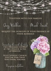 Hydrangea & Mason Jar Wedding Invitation