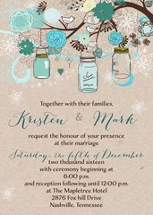 Winter Mason Jar Wedding Invitation