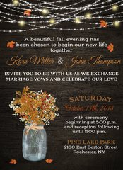 Fall Mason Jar with Maple Leaves Wedding Invitation