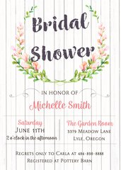 Watercolor Floral Wood Bridal Shower Invitation