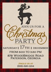 Rustic Plaid Christmas Party Invitation