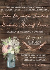 Spring Flowers Mason Jar Wedding Invitation