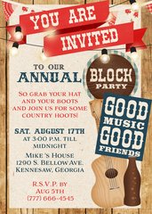 Summer BBQ Block Party Invitation