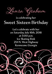 Black White & Pink Sweet Sixteen Birthday Invitation