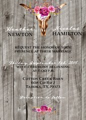 Country Western Bull Wedding Invitation