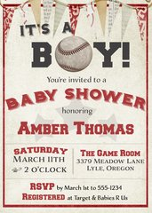 It's a Boy Baseball Baby Shower Invitation