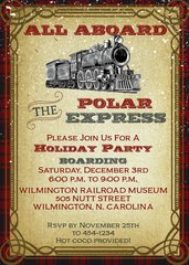 Polar Express Christmas Party Invitation