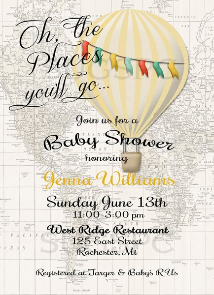 Hot Air Balloon Invitation Baby Shower Invitation