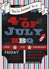 Red White and Blue Fourth of July Invitation