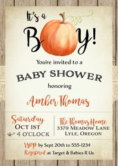 It's a Boy Pumpkin Baby Shower Invitation