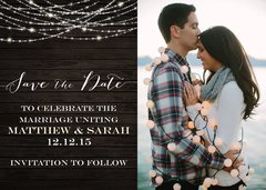 Rustic Wood & Lights Save the Date