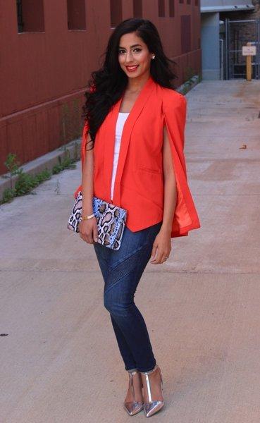 Toya Cape Blazer (Red) | PS Boutique