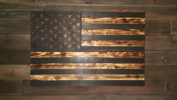 Burnt Large Concealment Flag Wooden American Flag Weapon