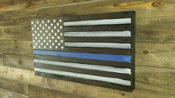 Thin Blue Line Concealment Flag Standard Size Wooden