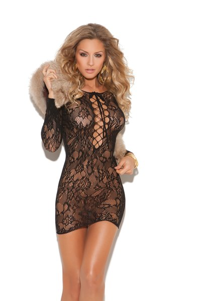 Long Sleeve Lace Mini Dress (Item#: 87-em-99)