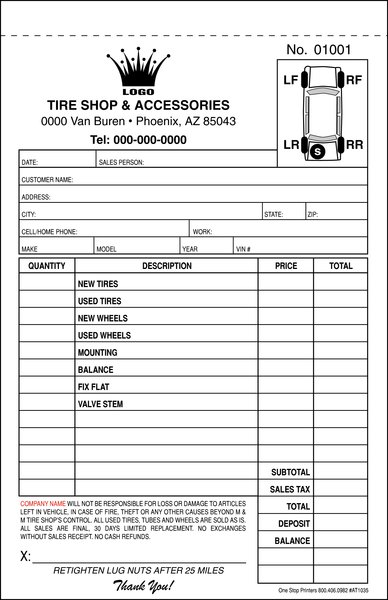 Automotive Tire Repair Order Invoice One Stop Printers