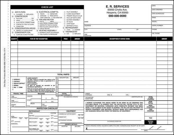 Heating And Air Conditioning Invoice Work Order One