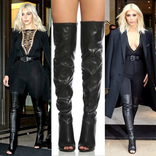 Kim k inspired open toes thigh high boots | Nalu Boutique