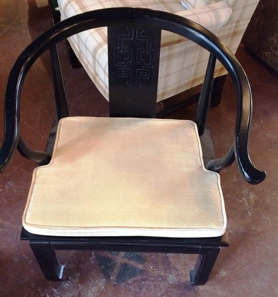 Hollywood Regency James Mont Style Ebonized Lacquer Finish Chair