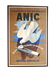 Circa 1937 French Silk Screen Original Cigarette Poster