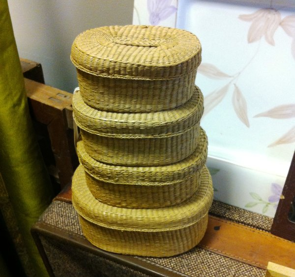 Nantucket Baskets, Nest of Four Authentic Vintage Covered Baskets in Graduated Sizes