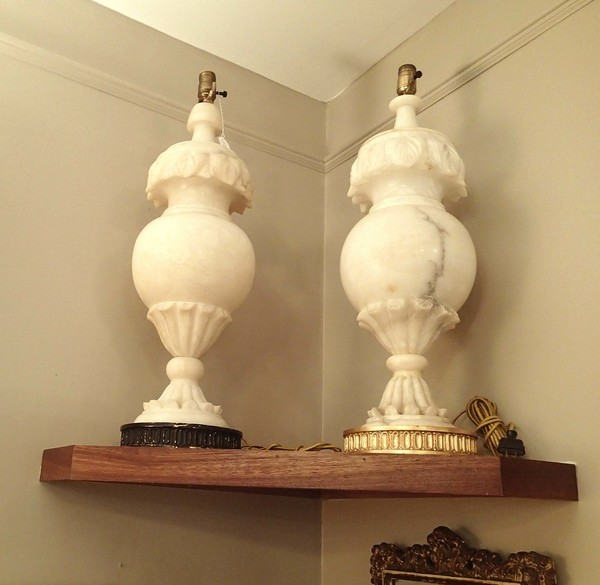 Italian Antique Alabaster Hand Carved Large Pair of Side Lamps, Elegant