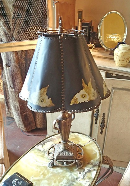 Arts & Crafts Antique Bronze Base Lamp w/ Hand Painted Shade